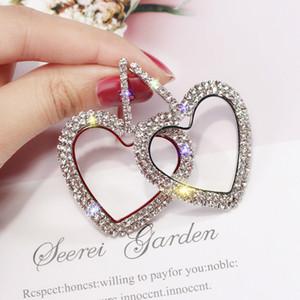 Monili del partito dell'orecchino di modo delle donne di stile coreano grande cuore orecchini a cerchio di lusso Oro Argento Rhinestone di colore regalo