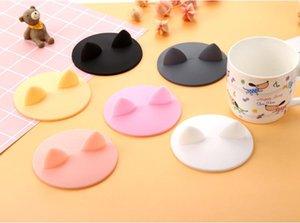 귀여운 만화 고양이 귀 모양의 컵 커버 식품 학년 내열성 누수 방지 실리콘 뚜껑 커피 잔 뚜껑 커버 SN2797