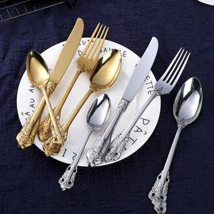Retro set gümüş ve altın paslanmaz çelik bıçak Yüksek dereceli bıçak çatal kaşık 4 parçalı yemek takımı seti sofra takımları ayarlamak çatal bıçak takımı LXL899-1