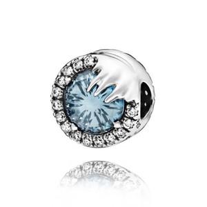 2019 Charms Collection 925 Sterling Silver Beads congelata neve Fiore blu scintillante cristallo misura i monili delle donne europeo DIY originale Bracciali