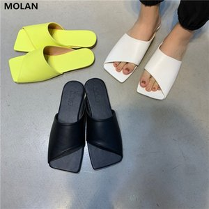 MOLAN Designers 2020 Summer New Fashion Square Toe Flat Leather Slippers Slip On Loafers Mules Flip Flops Casual