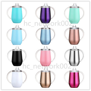 12 opções de Sippy Cup 10 onças copo de vinho com aço inoxidável alça copo de parede dupla para o bebê