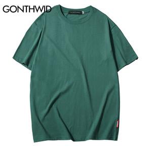 GONTHWID Casual Coton Solide T-shirts Hommes Femmes Hip Hop Ras Du Cou À Manches Courtes Blanc Streetwear Tops T-shirts D'été T-shirts Hommes 3XL