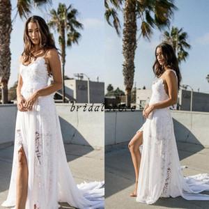 New Beach Bohemian Wedding Dresses Sexy Spaghetti-Trägern Fließendes Land Chiffon Spitze Brautkleider Modest Günstige Backless Brautkleid Aline