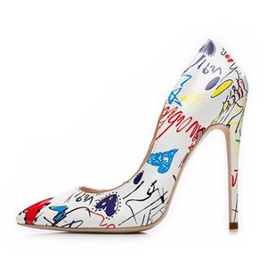 Women Heels Graffiti Colorful Bridal Shoes Women Pumps Sexy High Heels Pointed Toe Party Wedding Shoes Stiletto Plus Size 35-42