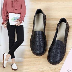 Soft Autumn Section Single Honor2019 La suela de los zapatos de mujer bordados en la boca Four Seasons Mom Shoe