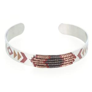 Brown Black Luxury Enamel Arrow Silver Women Girls Open Bracelets Stainless Steel Cuff Bracelets Wrist Bangle Bracciali