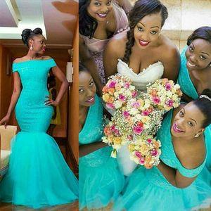 Mariage africains invités Robes Turquoise sirène robes de demoiselle d'honneur de l'épaule Aqua Bleu partie longue de soirée