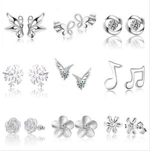 Boucles d'oreilles en argent d'argent 925 ailes de boucles d'oreilles papillon fleurs de flocons de neige boucles d'oreilles boucles d'oreilles boucles d'oreilles zircon dames