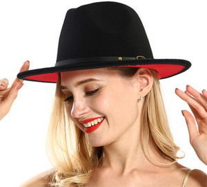 Unisexe Flat Brim Chapeaux en feutre de laine avec Fedora formelle Patchwork rouge ceinture noire Jazz panama Cap Trilby Chapeau pour Hommes Femmes