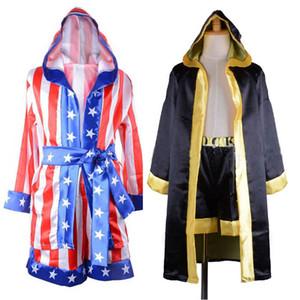 Costumes Bandeira Rocky filme de boxe americano Cosplay Meninos Red Preto Robe traje Boxer Crianças Boxe Robe Shorts Formação Outfit