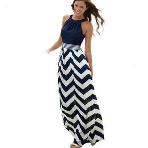 Женская платье Женская одежда Летняя 2019 Lady Elegant Striped Maxi платье лето Женщины Холтер Boho Beach Party Dresses YL Дизайнер одежды