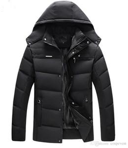Cappotto Moda Uomo Piuma calda inverno Zipper cappotti casuale incappucciato solido del rivestimento di colore Spesso Maschio Abbigliamento