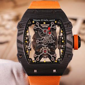 Лимитированный новый черный корпус из углеродного волокна RM27-01 скелет циферблат Miyota Automatic 27-01 мужские часы оранжевый нейлоновый ремешок Мужские спортивные часы 4 цвета