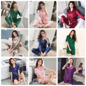 Womens Silk Satin Pajamas Pyjamas Set Long Sleeve Sleepwear Pijama Pajamas Suit Female Sleep Two Piece Set Loungewear Plus Size CX200606