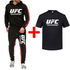 2019 de los hombres impresos otoño y del invierno Deportes UFC juego ocasional suéter + pantalones deportivos + camiseta 3 juegos de juego de los hombres de la aptitud