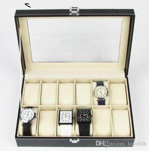 12 digits Watches PU Leather Watch Box Display Box Jewelry Storage Organizer Case Locked Boxes Retro Saat Kutusu Caixa Para Relogio
