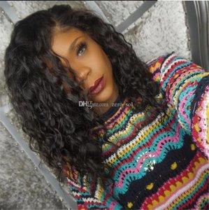 Cheap peruana Water Wave Virgin Cabelo Silk Top peruca cheia do laço Natural Color Glueless Silk Base de peruca dianteira do laço Humano Mulheres Preto Para