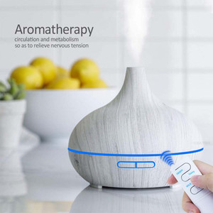 500ml Aroma Essential Oil Diffuser Ultrasonic Air Humidifier Purifier with Wood Grain 7colors LED Lights Mist Maker with Remote for Home