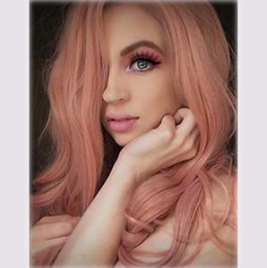 Nuovi europei e americani parrucche signore capelli lunghi del volume onda morbido grande lunghi capelli ricci Harajuku rosa set parrucca libera di trasporto