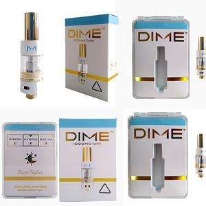 10 Farben DIME Vape Pen Cartridge 510 Ceramic 0,8 ml 1 ml Atomizer Vape Patronen Verpackung Öl Carts Dab Pen Vaporizer Leere E-Zigarette