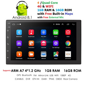 2 Din Android 8.1 Car Radio Auto Universal GPS Navigation 1024 * 600 Bluetooth WIFI DAB DVR EQ TPMS MIC Controle de volante carro dvd