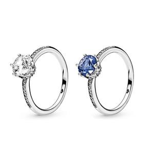 Caixa de Pandora 925 colar de prata Espumante Anéis Big CZ diamante casamento originais coroa com conjuntos de caixa de varejo