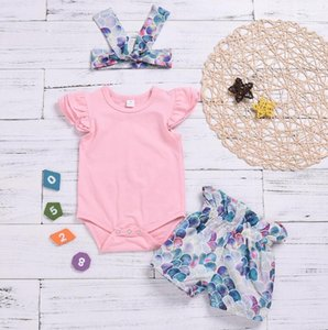 Kids Clothing Summer Children's Suit Infant Girl Flying Sleeves Robe Fish Scales Shorts Jumpsuits Headband Three-Piece