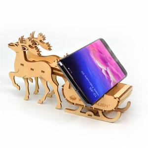 DIY Wood Phone Holder Desktop Bracket Stand Creative Xmas Elk Robot Car CellPhone Holder For iphone Samsung Phone Boy Girl Christmas Gift