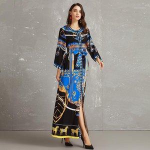 Parigi Palazzo Luxury Style Donne lungo primavera dei vestiti da partito di Vogue formale classico vestito stampato Notre-Dame de