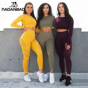 NADANBAO Mulheres Esporte Leggings oco Out push calças Jogging Leggings cintura alta Elastic Sportwear Sexy Feminino Y200328