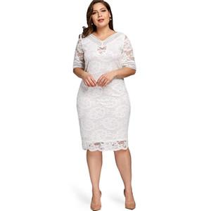 Lortala plus size v abordagem metade shell top dress bodycon 2019 mulheres moda sexy party ladies vestidos tamanho grande vestido y19070901