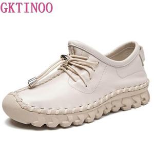 Preguiçosos Shoes GKTINOO Oxford costura Flats femininas Mulher Lace Feminino Up couro genuíno Rubber Soles Casual