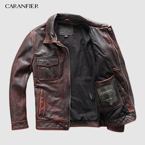CARANFIER DHL-freies Verschiffen Mens 100% Rindleder-echte Lederjacke Hochwertiges alte Retro-Motorradjacke aus Leder