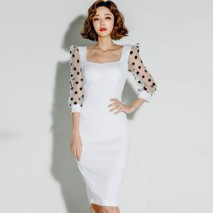 Весна 3/4 Sleeve Dot печати Mesh лоскутное Белое платье Женской Bodycon Knee-Length Sexy Party ткань Женский