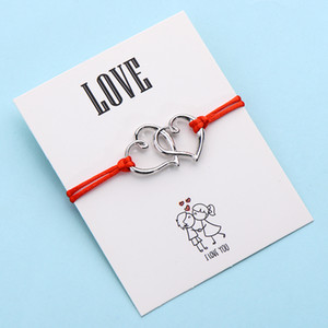 20pcs lots Love Double Heart Charm Bracelets For Women Men DIY Lucky Red Thread Couple Bracelet Birthday Gift