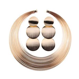 Gold / silber afrikanischen schmuck set runde mehrere stränge choker halskette und ohrringe set hochzeit dekoration für frauen jl