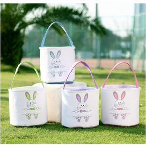 Cestas de Easter bonitos Canvas da cesta de Easter Tote Bag Coelho Imprimir Bucket Bolsas Ano Novo Ovos de Páscoa Favor Bolsa Coelho Coloque Basket LXL1124-1