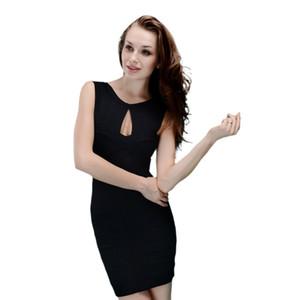 Todo Traje blanco Negro ojo de la cerradura BodyCon rayón elástico de la celebridad del vendaje de 2020 vestidos de partido Dress +