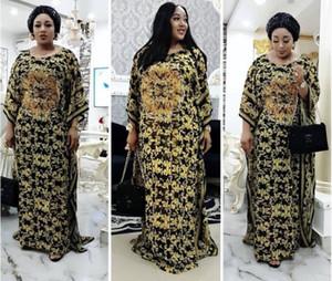 L-3XL Alineadas africanas las mujeres calientes de la venta del tamaño grande de la manera Vestido estampado atractivo estilo suelto Maxi vestidos multi