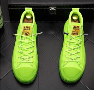 Nuevo estilo de moda de alta superior de los hombres del bordado de los picos de las zapatillas de deporte Zapatos verdes de remaches de diseño Lujo Caminar zapato de la boda Partido