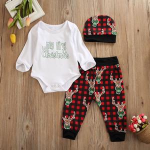 Mi primera Navidad del bebé de la ropa de la muchacha 3pcs Conjuntos Carta de manga larga a cuadros Print Romper + pants + hat de ropa Trajes