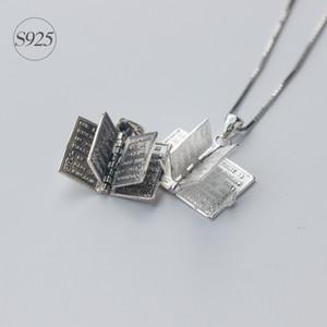 1pc argento 925 dell'agrifoglio Bibbia pendenti delle collane | Charms Libro Pagina collana cristiane Potenza Regali religiosi Gesù X467