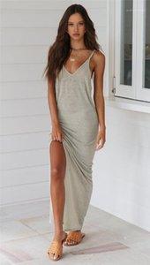 V-Neck Hollow Out abiti casual Natural Color Abiti senza maniche Abbigliamento Donna progettista delle donne Beach Abiti sexy profonda