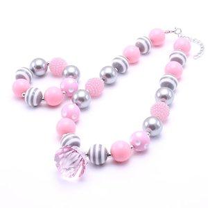 Gioielli Hotsale Rosa Grigio Colore bambini borda la collana Chunky Set Trendy Girl Beads per bambini della collana robusta Bracciale Set