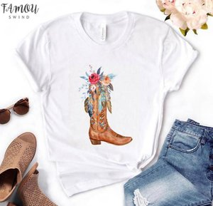 Cowgirl Boots Flowers Print Women Tshirt Cotton Casual Funny T Shirt Gift For Lady Yong Girl Top Tee Pm 68