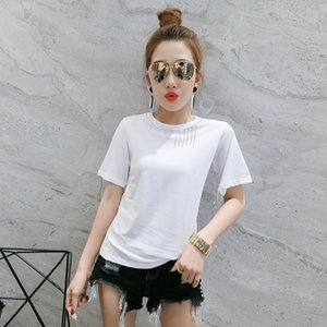 2020 New Summer Casual Loose Korean Clothes Diamonds Tassel T-shirt Women Cotton Short Sleeve Tops Ropa Mujer Shirt Tees T02419