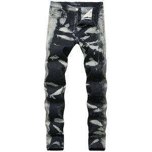 Mens Jeans di stirata di modo lungo matita del progettista pantaloni metà di vita Stampa Mens pantaloni grigi Spots regolare