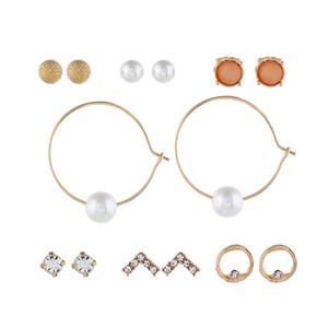 Earrings Jewelry New Fashion Women Rhinestone Resin Flower Water Drop Style 6-piece Set Alloy Stud Earrings