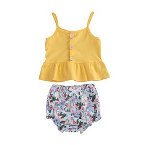 Emmababy Summer Kids 2pcs 0-4Y Baby Girl Clothes Yellow Button Crop Tops Floral Shorts Toddler Outfits Set